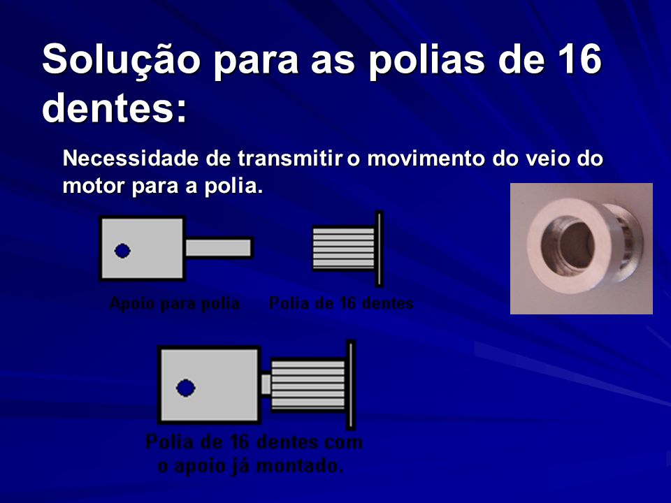Solução para as polias de 16 dentes: Necessidade de transmitir o movimento do veio do motor para a polia.