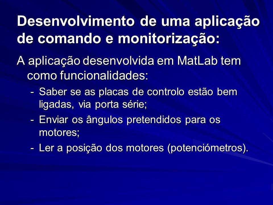 Desenvolvimento de uma aplicação de comando e monitorização: A aplicação desenvolvida em MatLab tem como funcionalidades: -Saber se as placas de contr