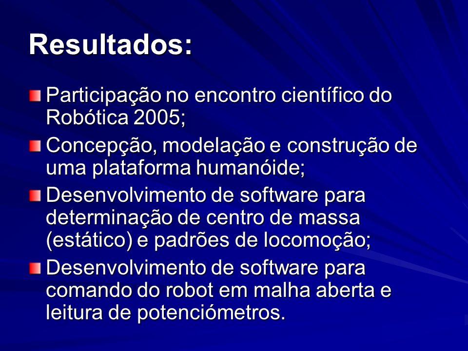 Resultados: Participação no encontro científico do Robótica 2005; Concepção, modelação e construção de uma plataforma humanóide; Desenvolvimento de so