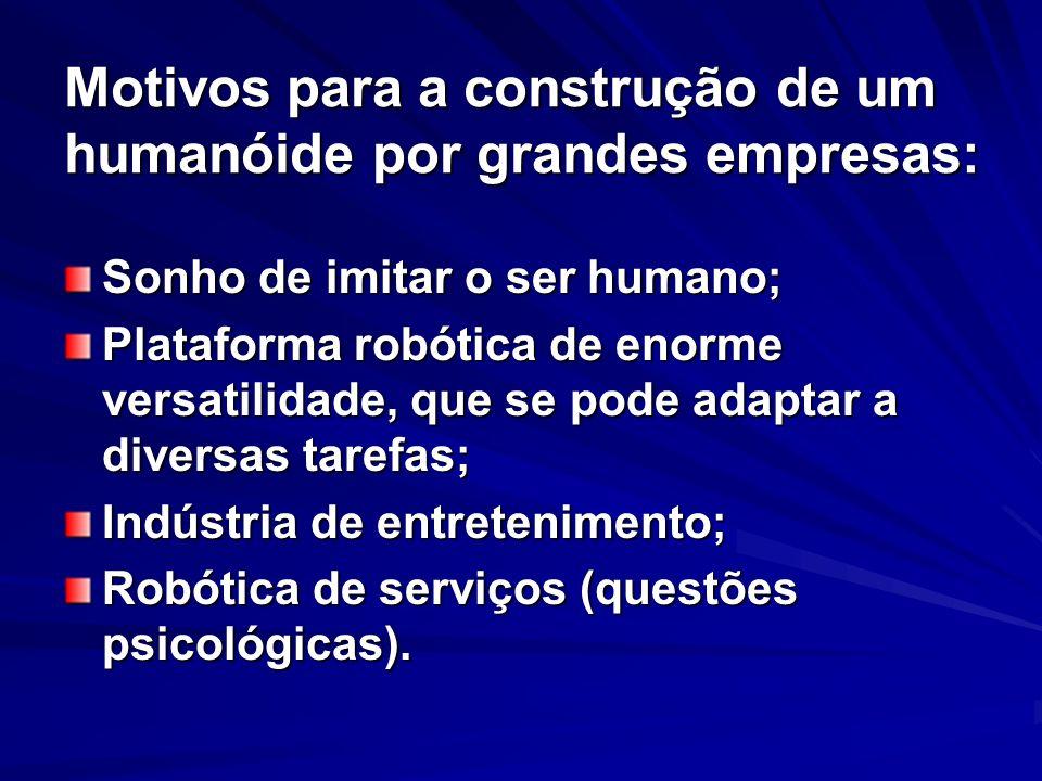 Motivos para a construção de um humanóide por grandes empresas: Sonho de imitar o ser humano; Plataforma robótica de enorme versatilidade, que se pode