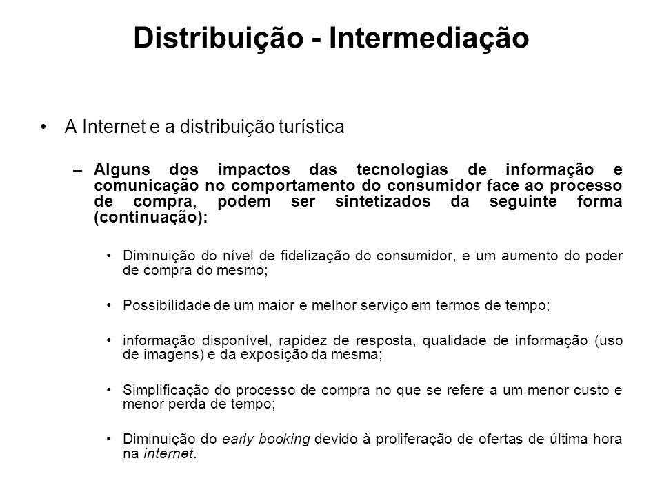 Distribuição - Intermediação A Internet e a distribuição turística –Alguns dos impactos das tecnologias de informação e comunicação no comportamento d