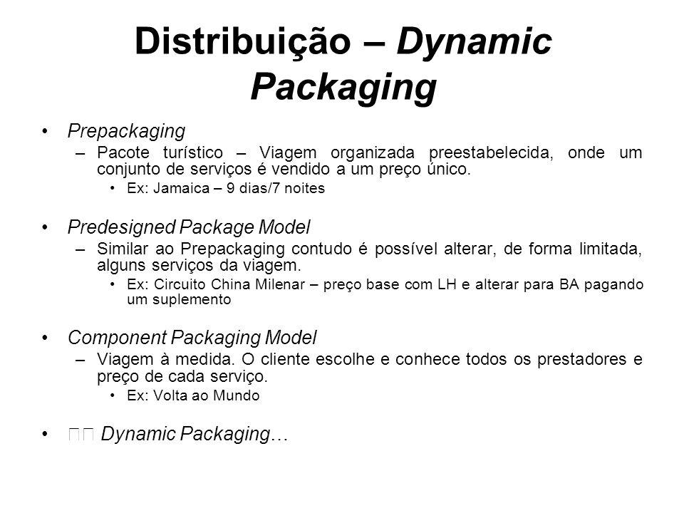 Distribuição – Dynamic Packaging Prepackaging –Pacote turístico – Viagem organizada preestabelecida, onde um conjunto de serviços é vendido a um preço