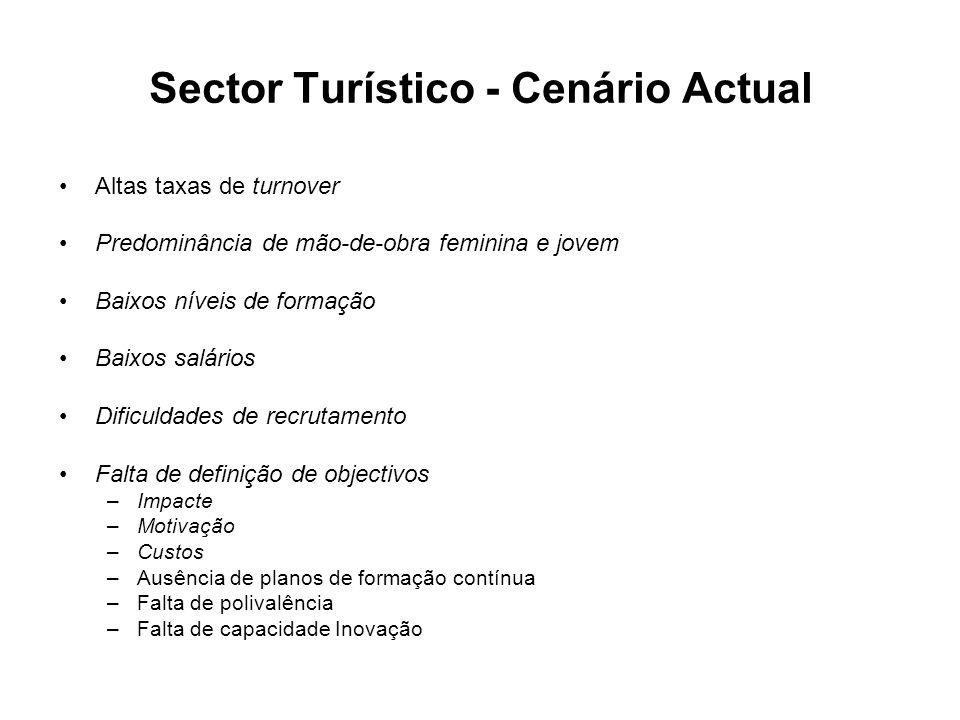 Altas taxas de turnover Predominância de mão-de-obra feminina e jovem Baixos níveis de formação Baixos salários Dificuldades de recrutamento Falta de