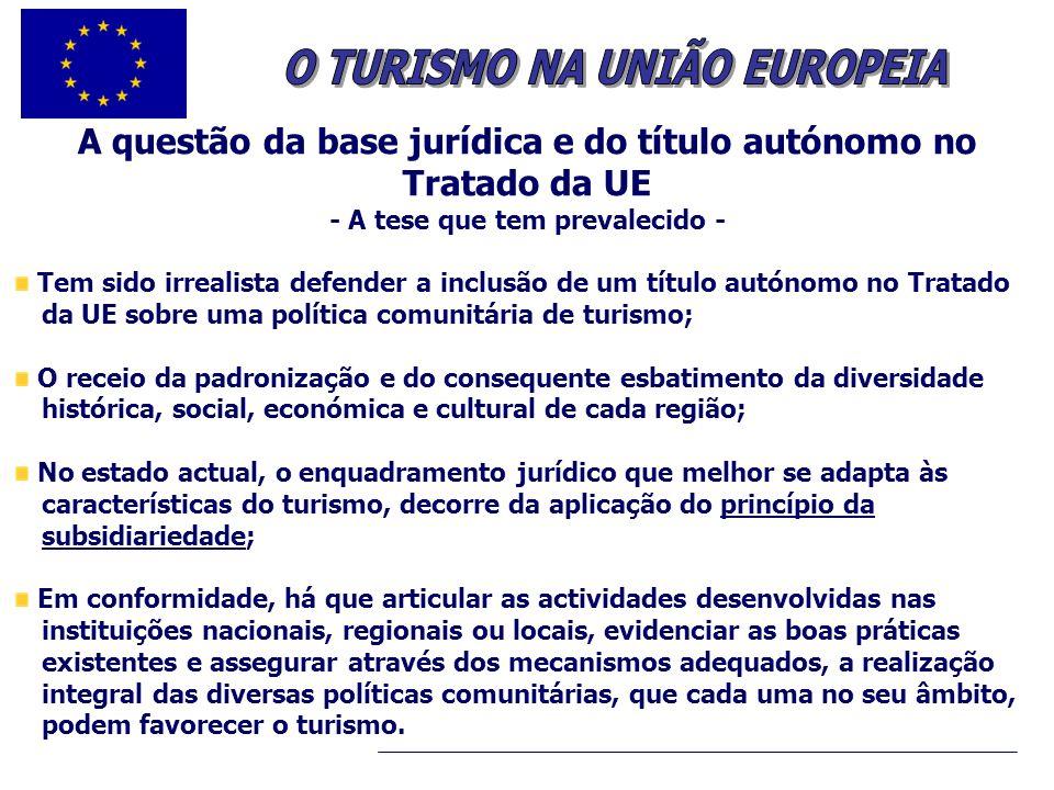 .. A questão da base jurídica e do título autónomo no Tratado da UE - A tese que tem prevalecido - Tem sido irrealista defender a inclusão de um títul