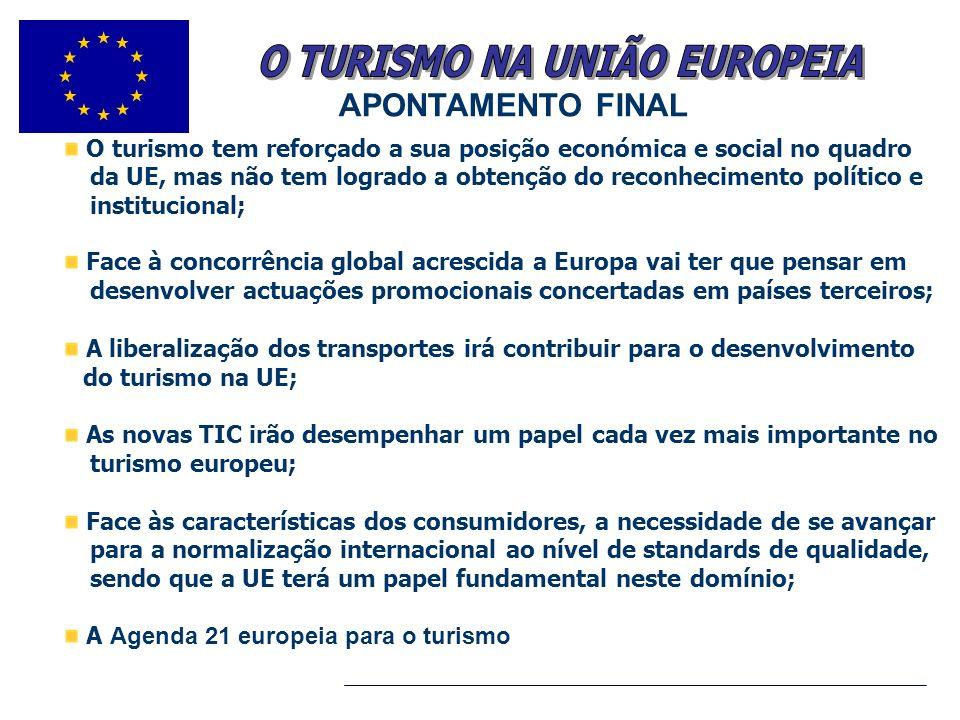 .. O turismo tem reforçado a sua posição económica e social no quadro da UE, mas não tem logrado a obtenção do reconhecimento político e institucional
