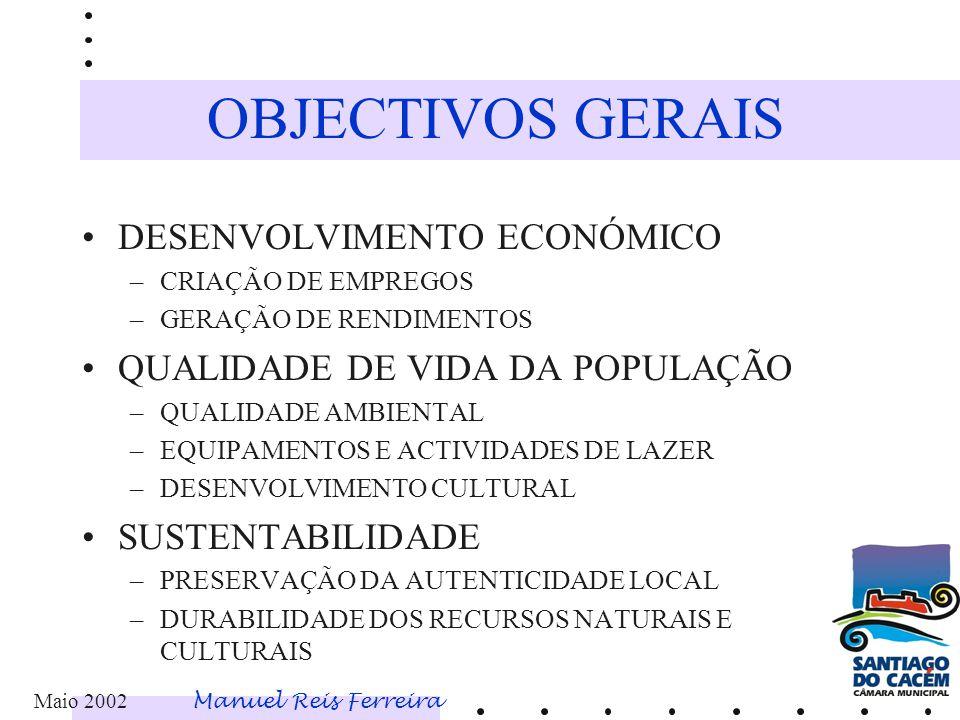 OBJECTIVOS GERAIS DESENVOLVIMENTO ECONÓMICO –CRIAÇÃO DE EMPREGOS –GERAÇÃO DE RENDIMENTOS QUALIDADE DE VIDA DA POPULAÇÃO –QUALIDADE AMBIENTAL –EQUIPAMENTOS E ACTIVIDADES DE LAZER –DESENVOLVIMENTO CULTURAL SUSTENTABILIDADE –PRESERVAÇÃO DA AUTENTICIDADE LOCAL –DURABILIDADE DOS RECURSOS NATURAIS E CULTURAIS Maio 2002 Manuel Reis Ferreira