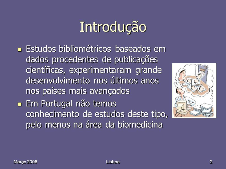 Março 2006Lisboa2 Introdução Estudos bibliométricos baseados em dados procedentes de publicações científicas, experimentaram grande desenvolvimento nos últimos anos nos países mais avançados Estudos bibliométricos baseados em dados procedentes de publicações científicas, experimentaram grande desenvolvimento nos últimos anos nos países mais avançados Em Portugal não temos conhecimento de estudos deste tipo, pelo menos na área da biomedicina Em Portugal não temos conhecimento de estudos deste tipo, pelo menos na área da biomedicina