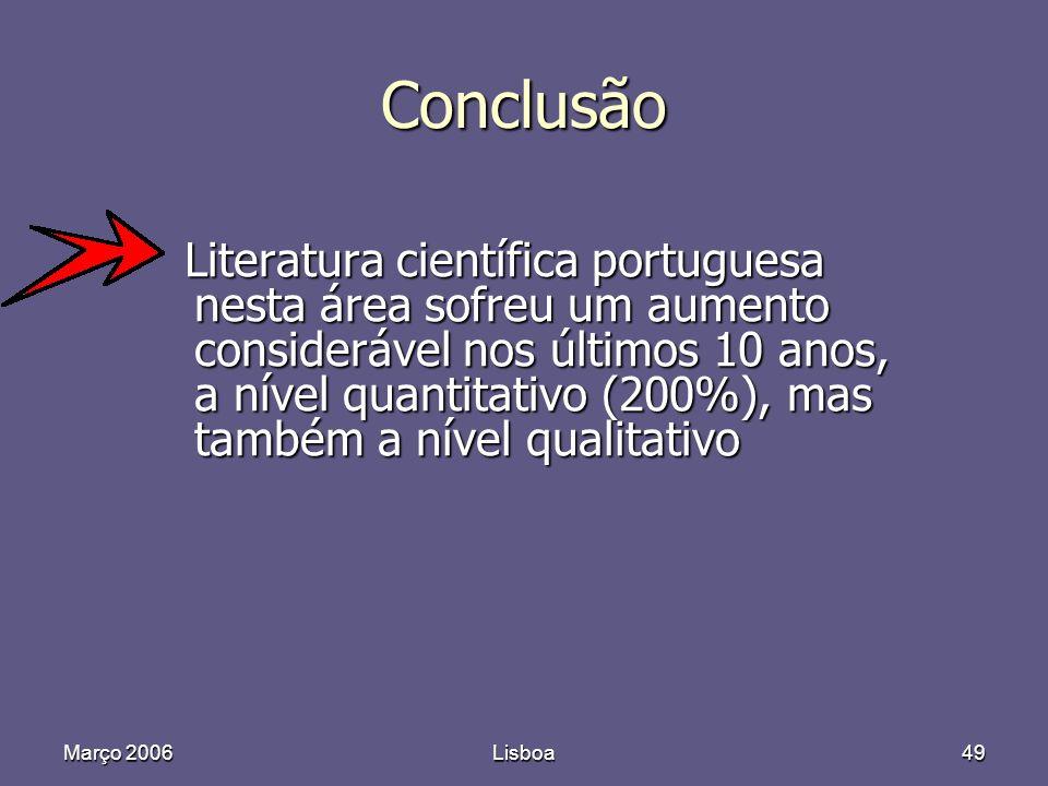 Março 2006Lisboa49 Conclusão Literatura científica portuguesa nesta área sofreu um aumento considerável nos últimos 10 anos, a nível quantitativo (200%), mas também a nível qualitativo Literatura científica portuguesa nesta área sofreu um aumento considerável nos últimos 10 anos, a nível quantitativo (200%), mas também a nível qualitativo