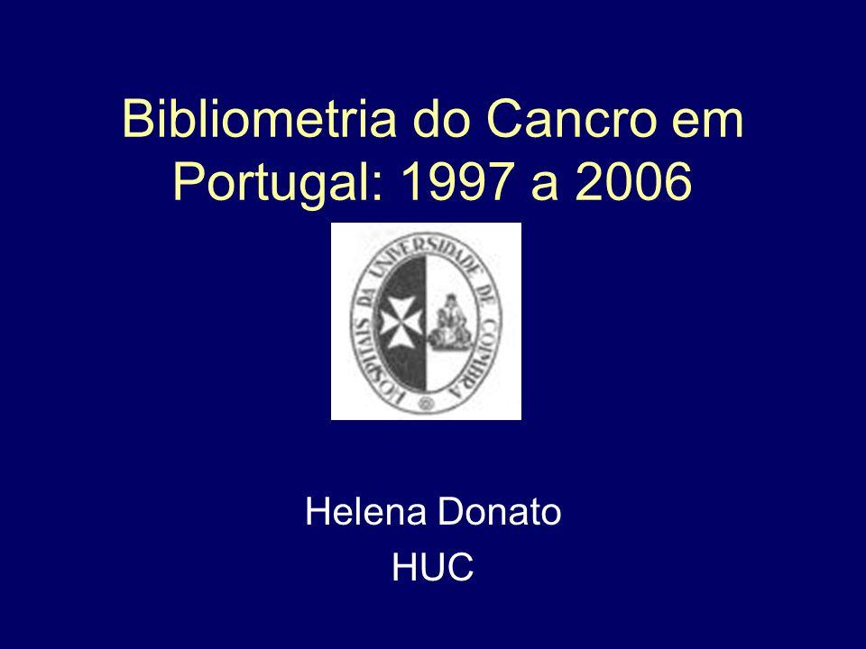Bibliometria do Cancro em Portugal: 1997 a 2006 Helena Donato HUC