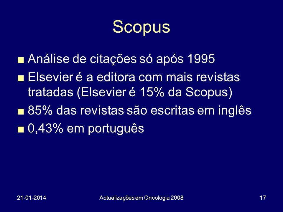 21-01-2014Actualizações em Oncologia 200817 Scopus Análise de citações só após 1995 Elsevier é a editora com mais revistas tratadas (Elsevier é 15% da