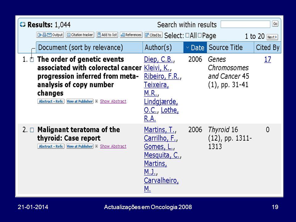 21-01-2014Actualizações em Oncologia 200819