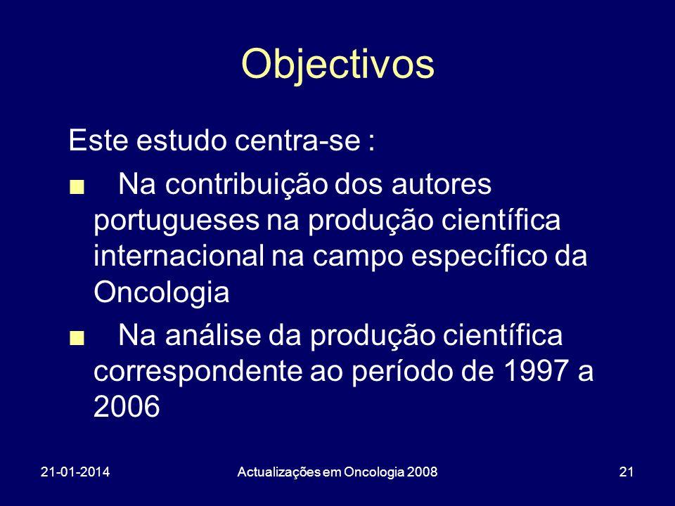 21-01-2014Actualizações em Oncologia 200821 Objectivos Este estudo centra-se : Na contribuição dos autores portugueses na produção científica internacional na campo específico da Oncologia Na análise da produção científica correspondente ao período de 1997 a 2006
