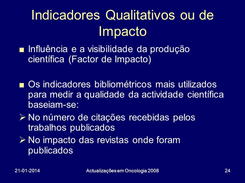 21-01-2014Actualizações em Oncologia 200824 Indicadores Qualitativos ou de Impacto Influência e a visibilidade da produção científica (Factor de Impac