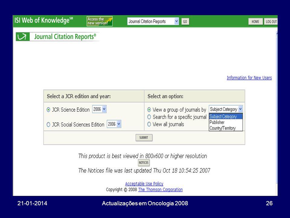 21-01-2014Actualizações em Oncologia 200826