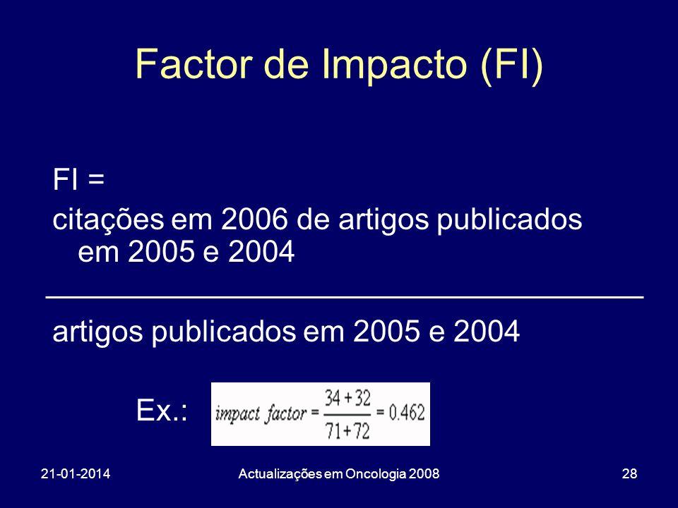 21-01-2014Actualizações em Oncologia 200828 Factor de Impacto (FI) FI = citações em 2006 de artigos publicados em 2005 e 2004 artigos publicados em 20