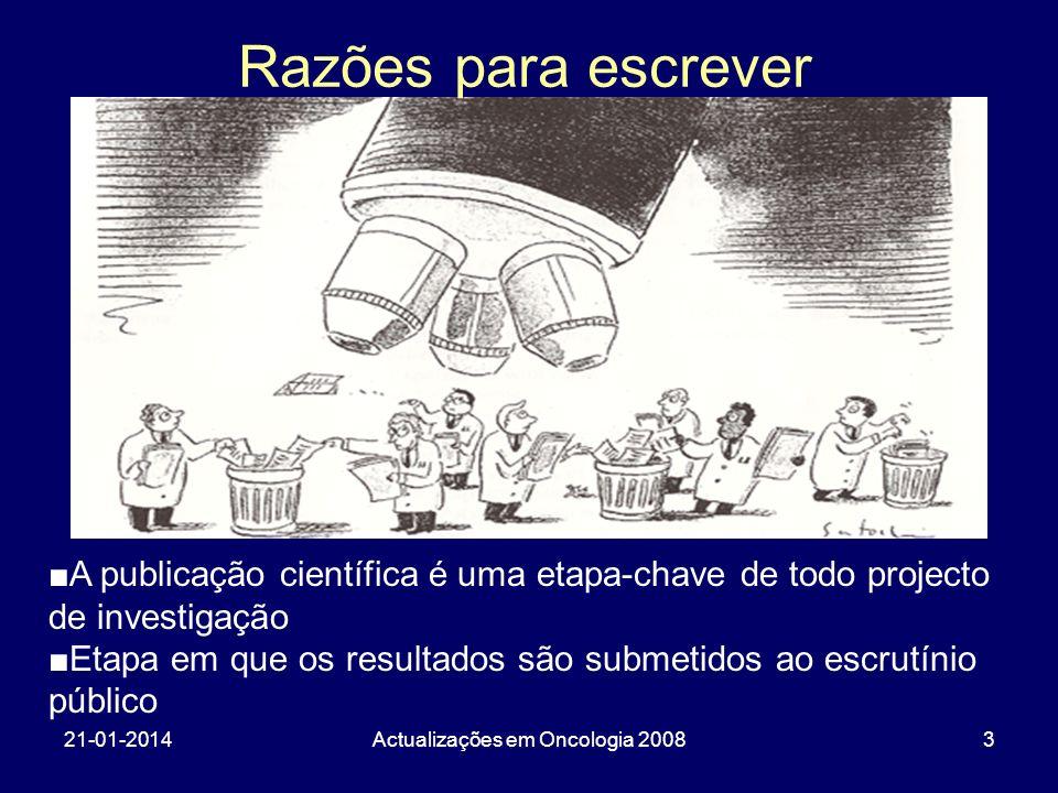 21-01-2014Actualizações em Oncologia 20083 A publicação científica é uma etapa-chave de todo projecto de investigação Etapa em que os resultados são s