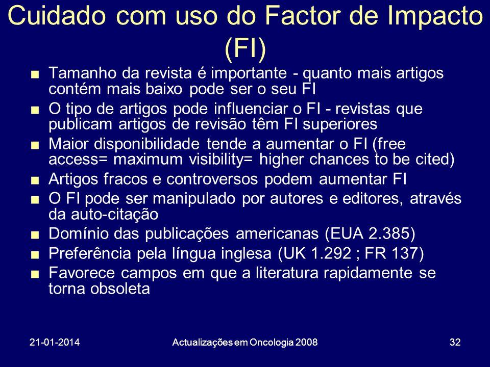 21-01-2014Actualizações em Oncologia 200832 Cuidado com uso do Factor de Impacto (FI) Tamanho da revista é importante - quanto mais artigos contém mai