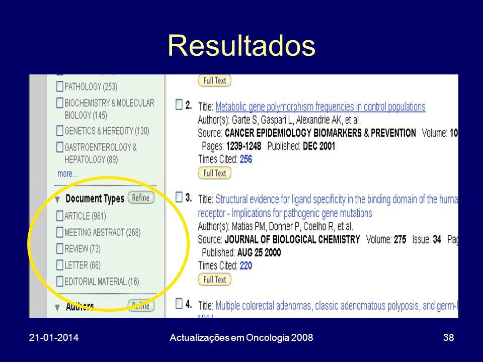 21-01-2014Actualizações em Oncologia 200838 Resultados