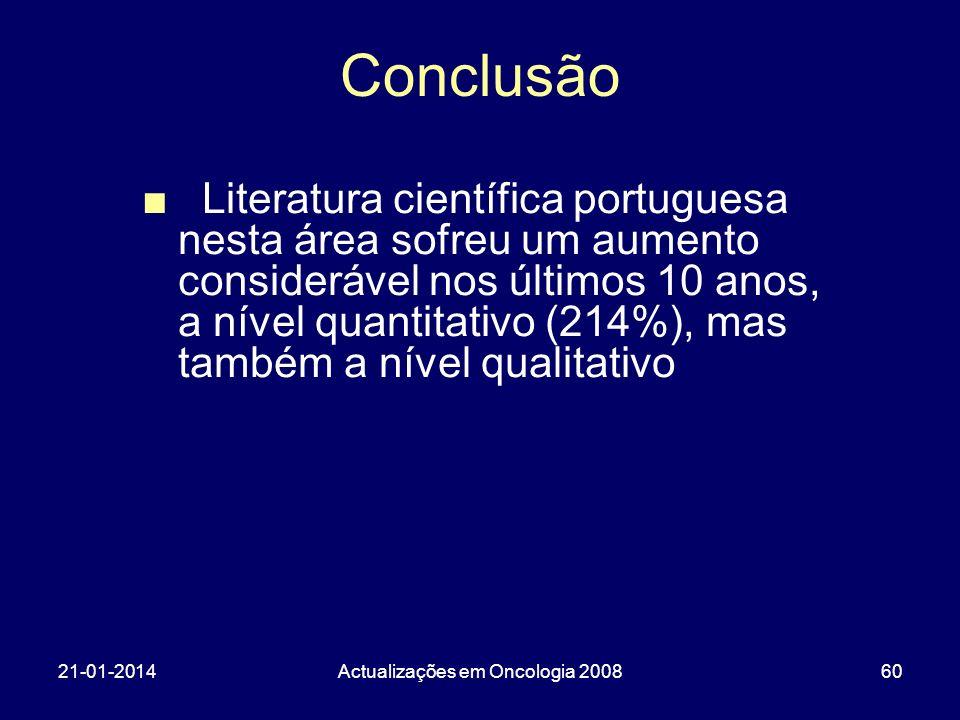 21-01-2014Actualizações em Oncologia 200860 Conclusão Literatura científica portuguesa nesta área sofreu um aumento considerável nos últimos 10 anos,