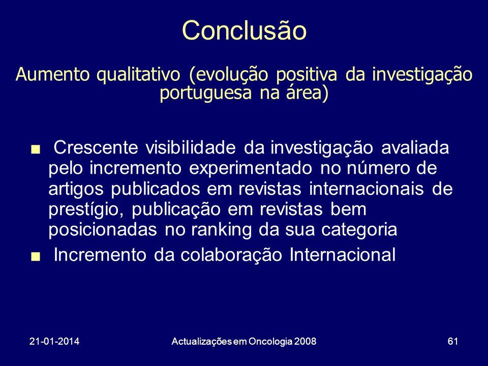 21-01-2014Actualizações em Oncologia 200861 Conclusão Crescente visibilidade da investigação avaliada pelo incremento experimentado no número de artig