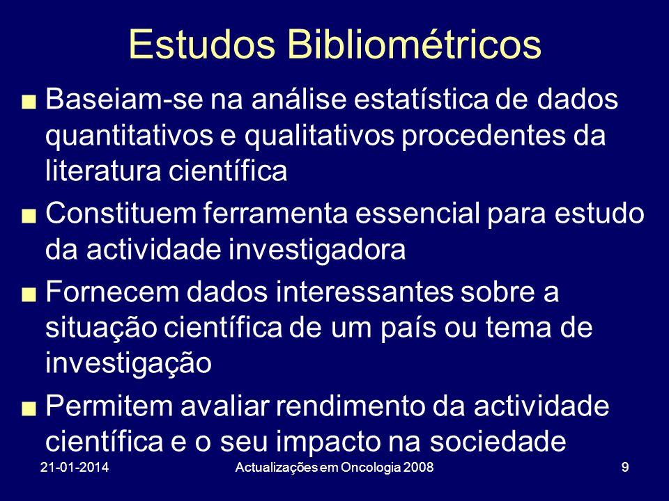 21-01-2014Actualizações em Oncologia 200810 Indicadores Bibliométricos Aplicam-se fundamentalmente a artigos científicos, por considerar que estes são a manifestação mais elaborada de um investigador e permitem o seu reconhecimento profissional, reflectindo a bibliografia a actividade científica