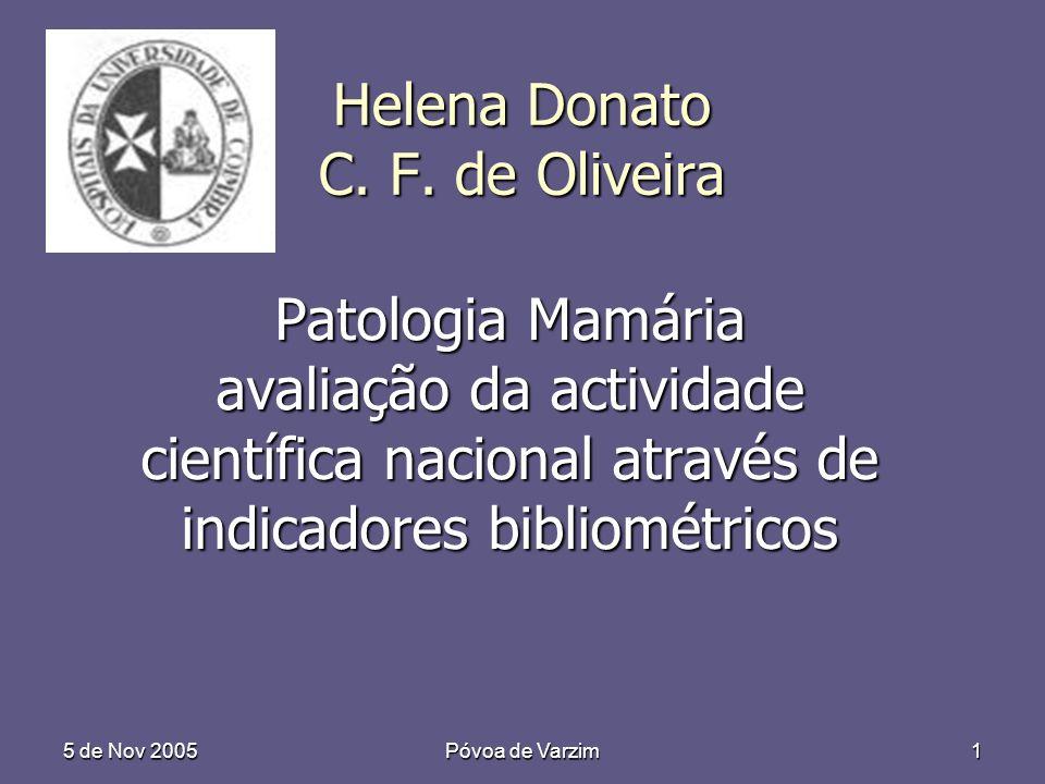 5 de Nov 2005 Póvoa de Varzim 1 Helena Donato C. F. de Oliveira Patologia Mamária avaliação da actividade científica nacional através de indicadores b