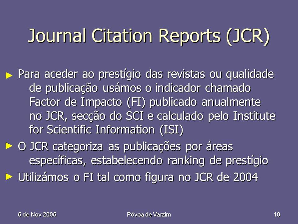 5 de Nov 2005Póvoa de Varzim10 Journal Citation Reports (JCR) Para aceder ao prestígio das revistas ou qualidade de publicação usámos o indicador chamado Factor de Impacto (FI) publicado anualmente no JCR, secção do SCI e calculado pelo Institute for Scientific Information (ISI) O JCR categoriza as publicações por áreas específicas, estabelecendo ranking de prestígio Utilizámos o FI tal como figura no JCR de 2004