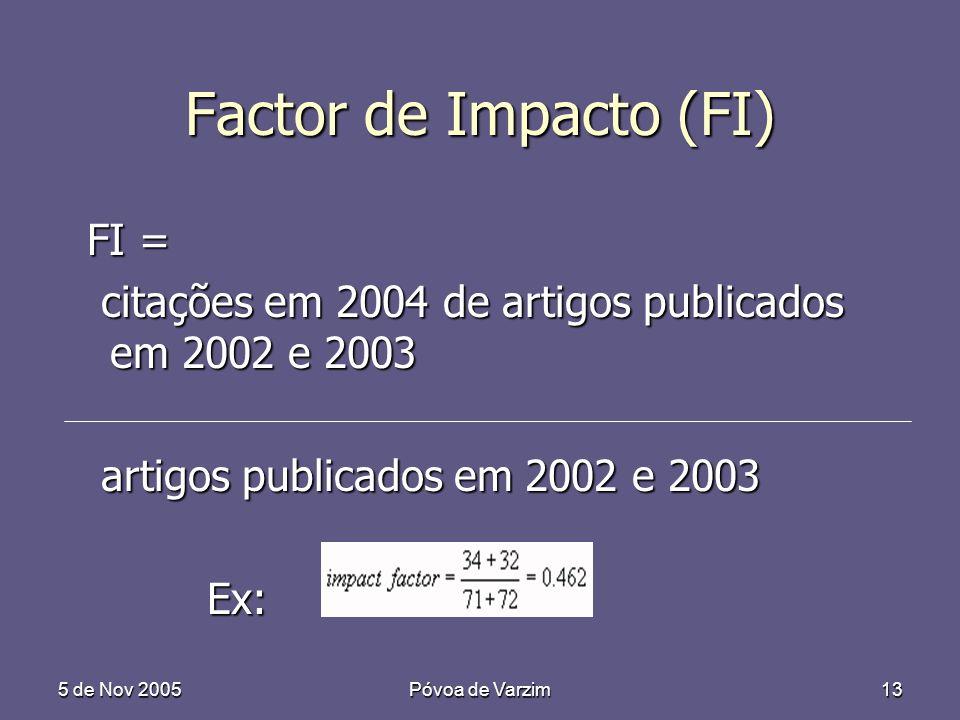 5 de Nov 2005Póvoa de Varzim13 Factor de Impacto (FI) FI = FI = citações em 2004 de artigos publicados em 2002 e 2003 citações em 2004 de artigos publicados em 2002 e 2003 artigos publicados em 2002 e 2003 artigos publicados em 2002 e 2003 Ex: Ex: