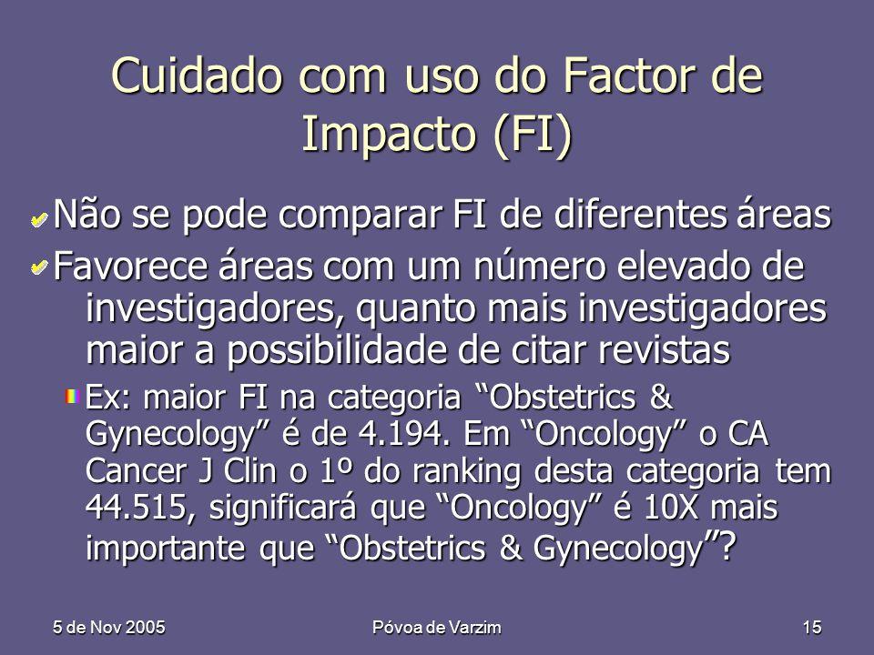 5 de Nov 2005Póvoa de Varzim15 Cuidado com uso do Factor de Impacto (FI) Não se pode comparar FI de diferentes áreas Favorece áreas com um número elevado de investigadores, quanto mais investigadores maior a possibilidade de citar revistas Ex: maior FI na categoria Obstetrics & Gynecology é de 4.194.