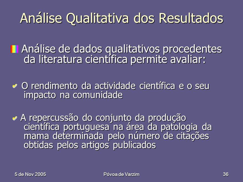 5 de Nov 2005Póvoa de Varzim36 Análise Qualitativa dos Resultados Análise de dados qualitativos procedentes da literatura científica permite avaliar:
