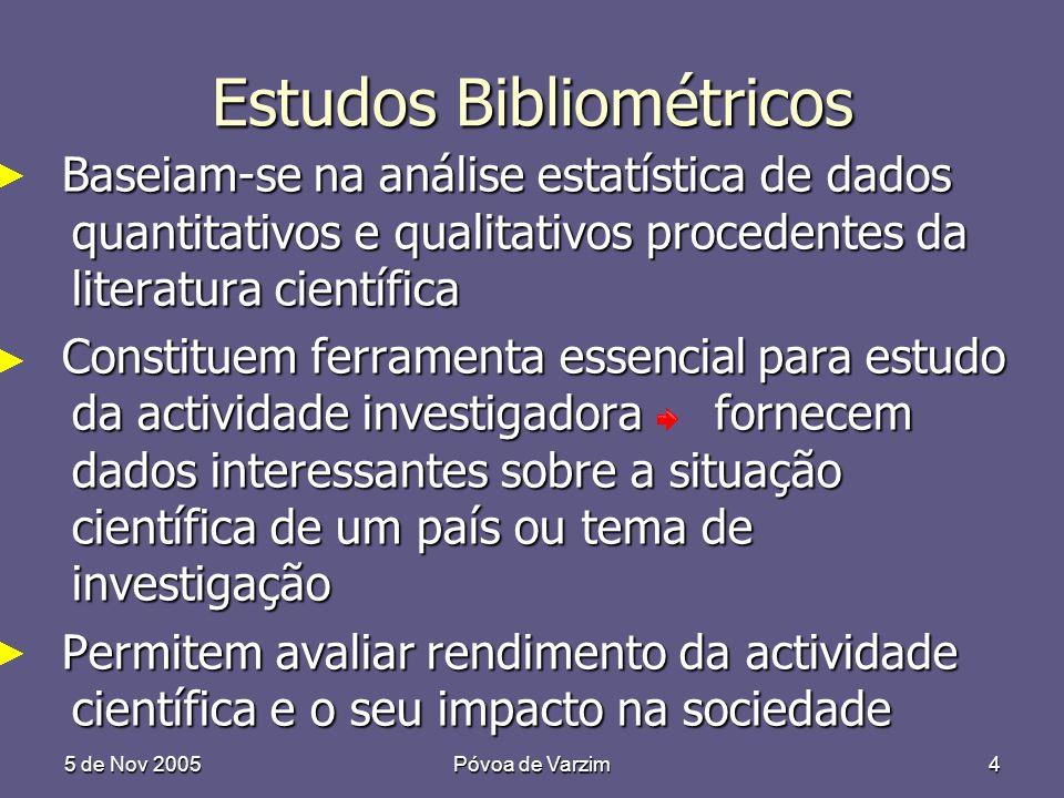 5 de Nov 2005Póvoa de Varzim4 Estudos Bibliométricos Baseiam-se na análise estatística de dados quantitativos e qualitativos procedentes da literatura