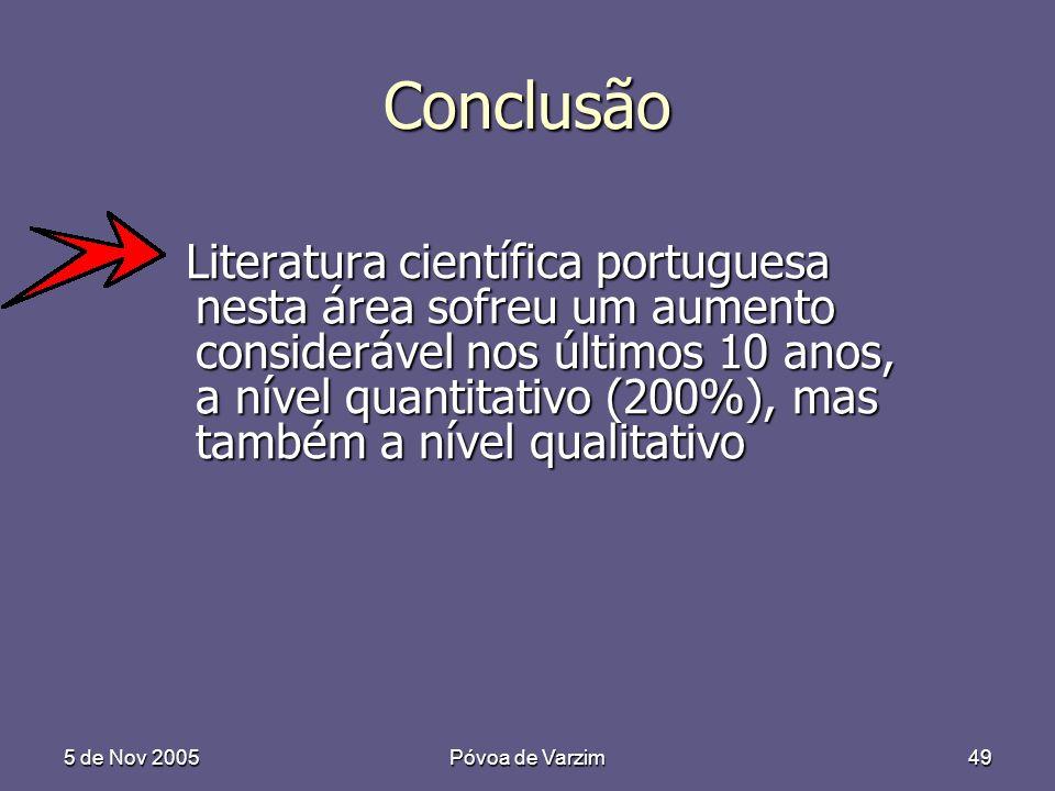 5 de Nov 2005Póvoa de Varzim49 Conclusão Literatura científica portuguesa nesta área sofreu um aumento considerável nos últimos 10 anos, a nível quantitativo (200%), mas também a nível qualitativo Literatura científica portuguesa nesta área sofreu um aumento considerável nos últimos 10 anos, a nível quantitativo (200%), mas também a nível qualitativo