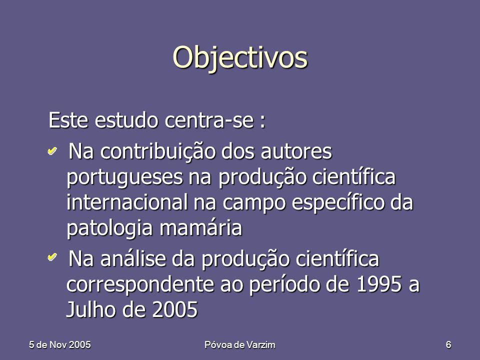 5 de Nov 2005Póvoa de Varzim6 Objectivos Este estudo centra-se : Na contribuição dos autores portugueses na produção científica internacional na campo