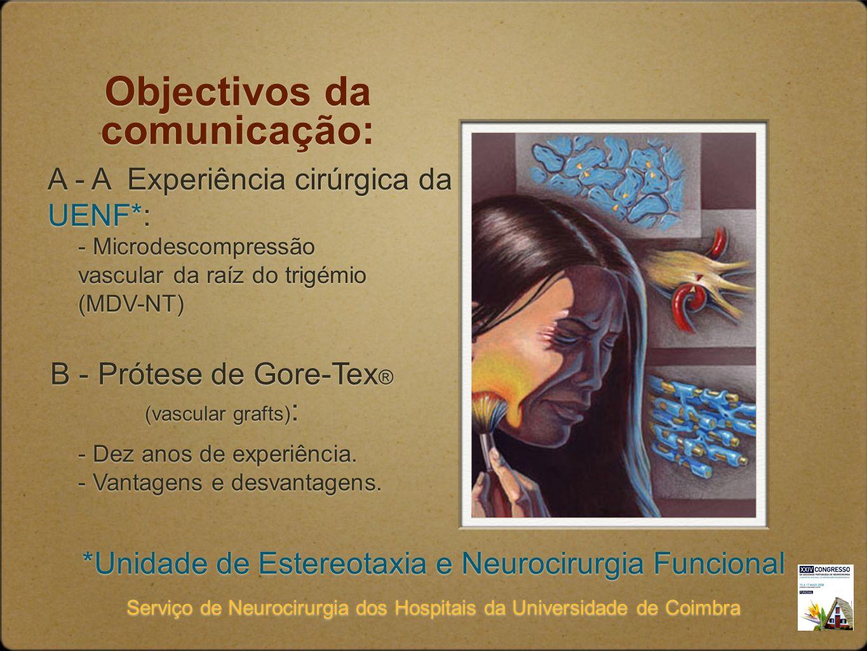 Objectivos da comunicação: A - A Experiência cirúrgica da UENF*: *Unidade de Estereotaxia e Neurocirurgia Funcional Serviço de Neurocirurgia dos Hospi