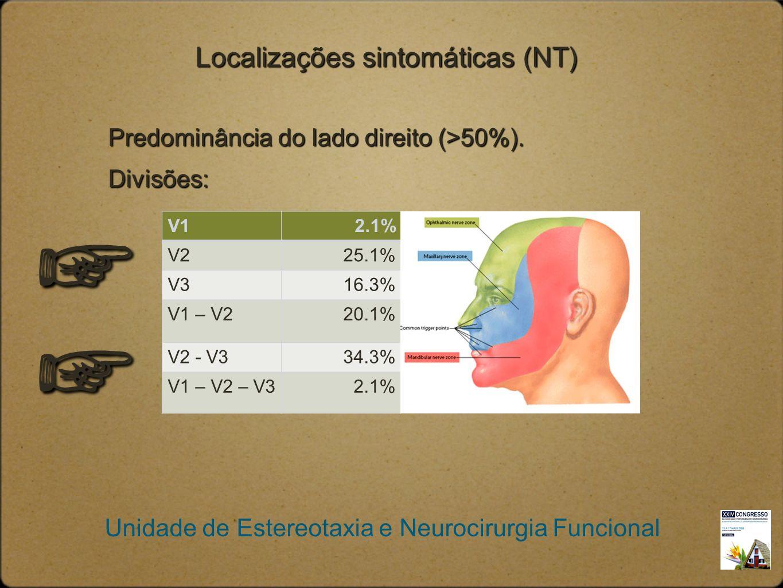 Unidade de Estereotaxia e Neurocirurgia Funcional Localizações sintomáticas (NT) Predominância do lado direito (>50%). Divisões: V12.1% V225.1% V316.3