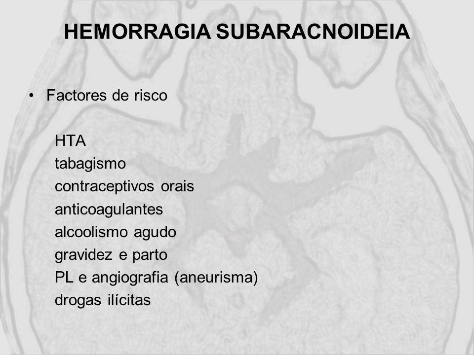 HEMORRAGIA SUBARACNOIDEIA Factores de risco HTA tabagismo contraceptivos orais anticoagulantes alcoolismo agudo gravidez e parto PL e angiografia (ane