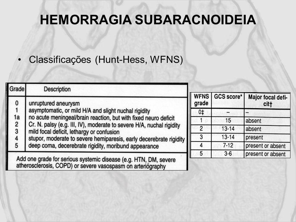 Classificações (Hunt-Hess, WFNS)