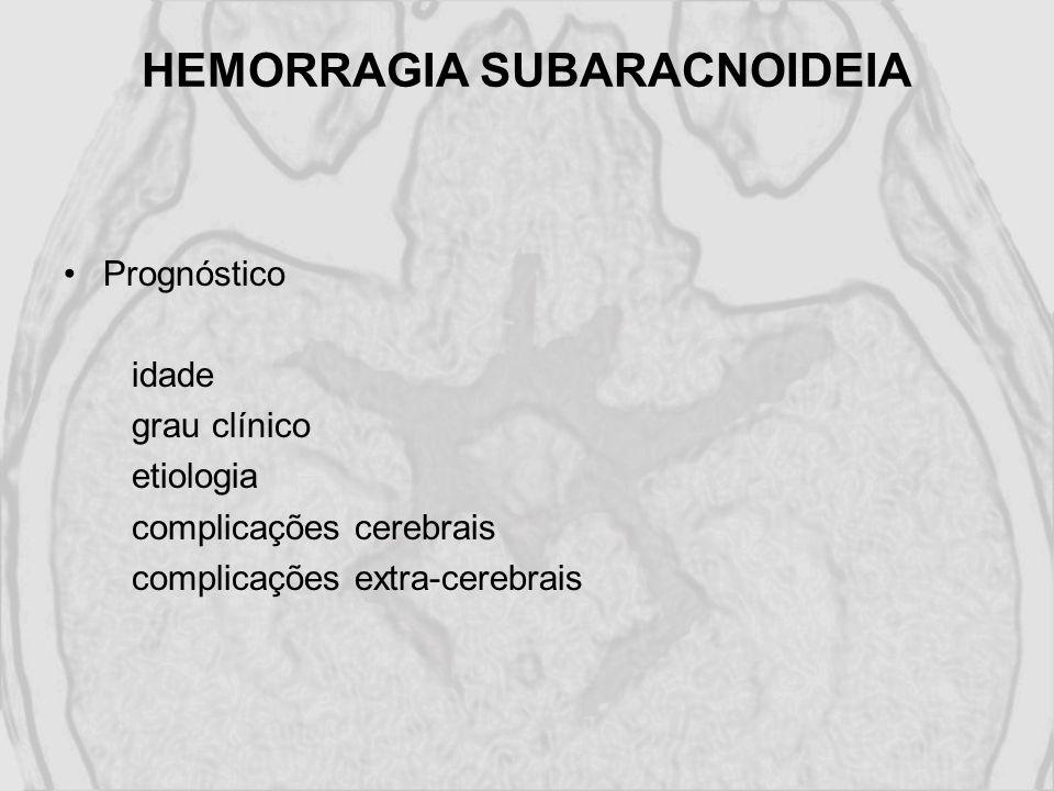 HEMORRAGIA SUBARACNOIDEIA Prognóstico idade grau clínico etiologia complicações cerebrais complicações extra-cerebrais