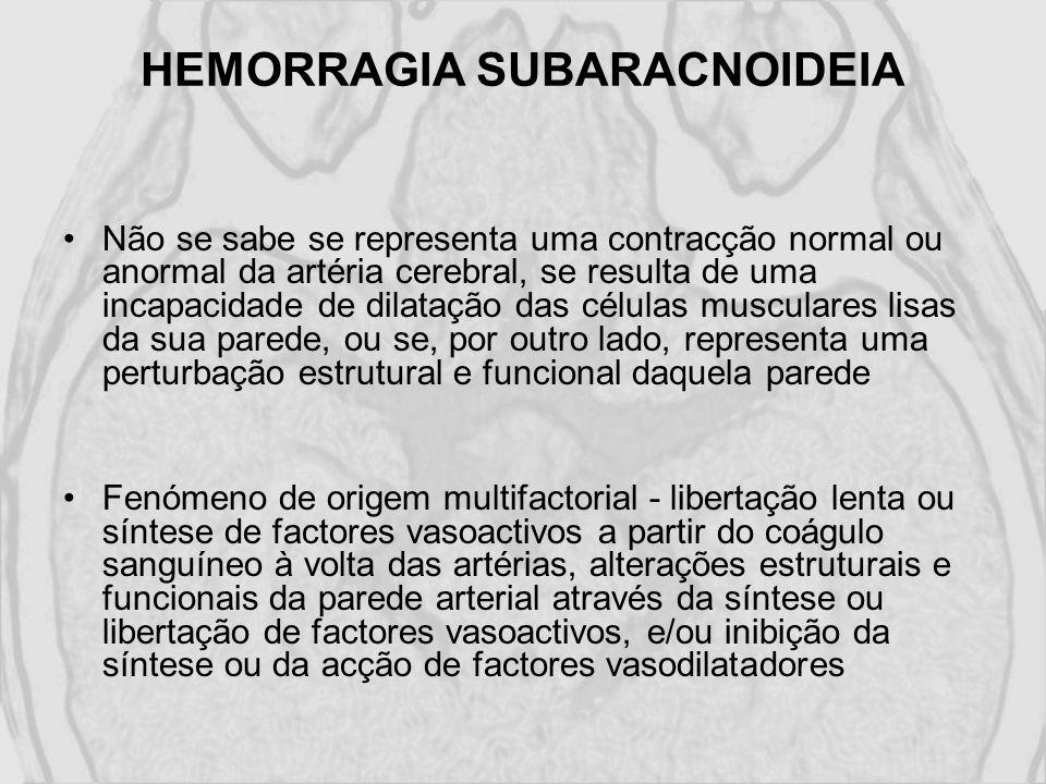 HEMORRAGIA SUBARACNOIDEIA Não se sabe se representa uma contracção normal ou anormal da artéria cerebral, se resulta de uma incapacidade de dilatação