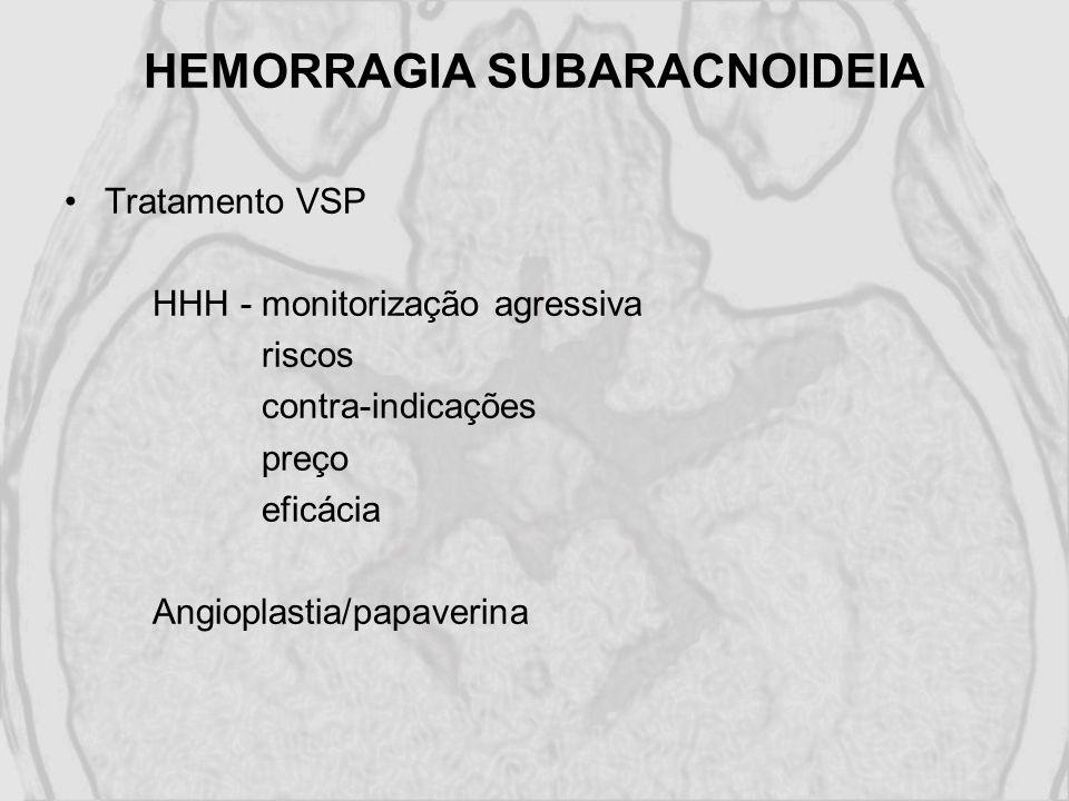 HEMORRAGIA SUBARACNOIDEIA Tratamento VSP HHH - monitorização agressiva riscos contra-indicações preço eficácia Angioplastia/papaverina