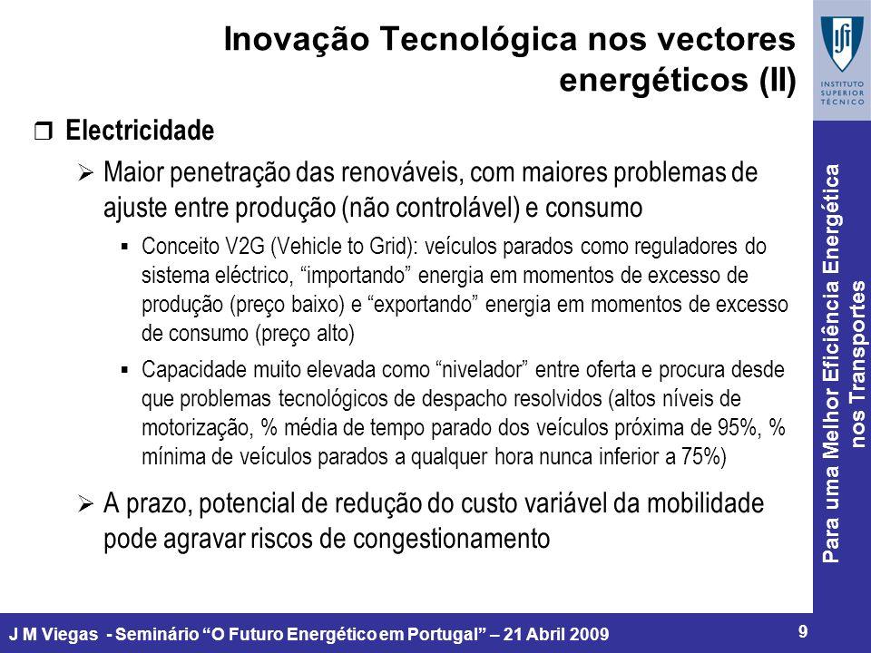 Para uma Melhor Eficiência Energética nos Transportes 9 J M Viegas - Seminário O Futuro Energético em Portugal – 21 Abril 2009 Inovação Tecnológica nos vectores energéticos (II) r Electricidade Maior penetração das renováveis, com maiores problemas de ajuste entre produção (não controlável) e consumo Conceito V2G (Vehicle to Grid): veículos parados como reguladores do sistema eléctrico, importando energia em momentos de excesso de produção (preço baixo) e exportando energia em momentos de excesso de consumo (preço alto) Capacidade muito elevada como nivelador entre oferta e procura desde que problemas tecnológicos de despacho resolvidos (altos níveis de motorização, % média de tempo parado dos veículos próxima de 95%, % mínima de veículos parados a qualquer hora nunca inferior a 75%) A prazo, potencial de redução do custo variável da mobilidade pode agravar riscos de congestionamento