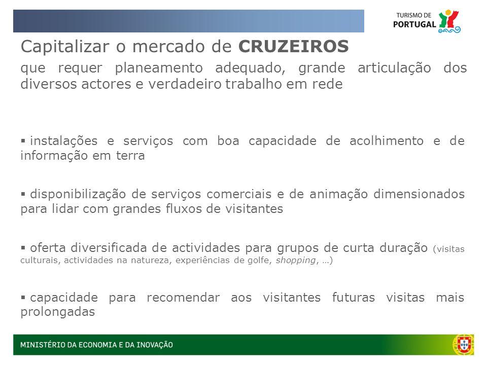 Capitalizar o mercado de CRUZEIROS que requer planeamento adequado, grande articulação dos diversos actores e verdadeiro trabalho em rede instalações