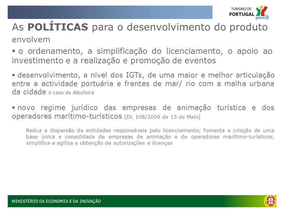 As POLÍTICAS para o desenvolvimento do produto envolvem o ordenamento, a simplificação do licenciamento, o apoio ao investimento e a realização e prom