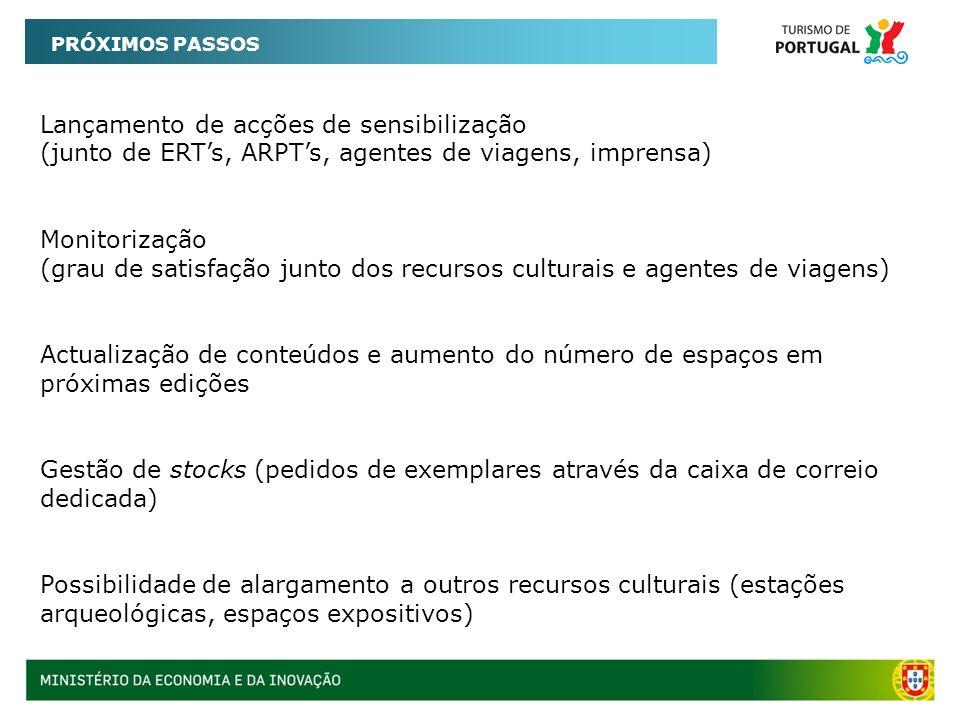 PRÓXIMOS PASSOS Lançamento de acções de sensibilização (junto de ERTs, ARPTs, agentes de viagens, imprensa) Monitorização (grau de satisfação junto do
