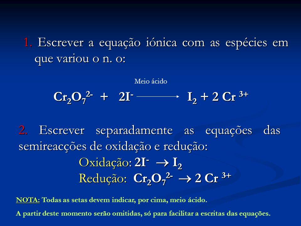 1. Escrever a equação iónica com as espécies em que variou o n. o: Cr 2 O 7 2- + 2I - I 2 + 2 Cr 3+ Meio ácido 2. Escrever separadamente as equações d