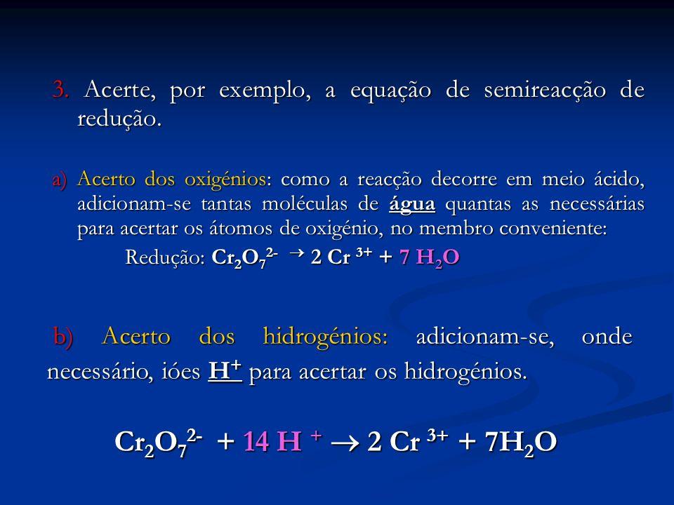 3. Acerte, por exemplo, a equação de semireacção de redução. a) Acerto dos oxigénios: como a reacção decorre em meio ácido, adicionam-se tantas molécu