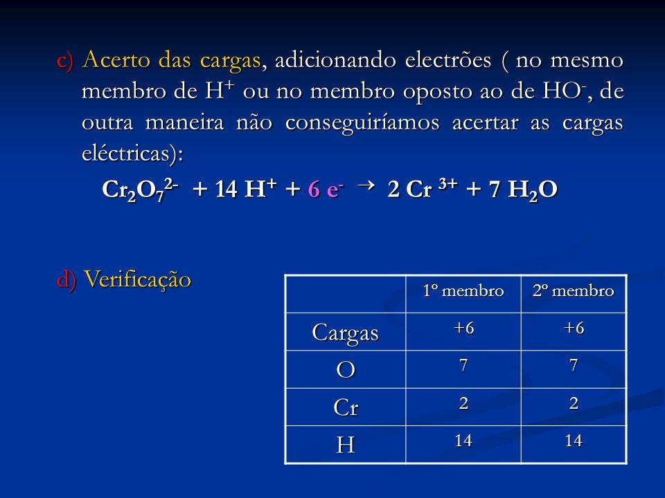 c) Acerto das cargas, adicionando electrões ( no mesmo membro de H + ou no membro oposto ao de HO -, de outra maneira não conseguiríamos acertar as ca