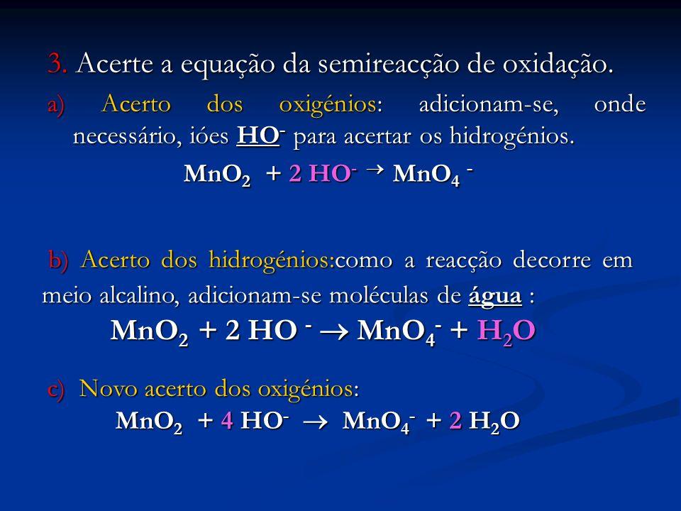 3. Acerte a equação da semireacção de oxidação. a) Acerto dos oxigénios: adicionam-se, onde necessário, ióes HO - para acertar os hidrogénios. MnO 2 +