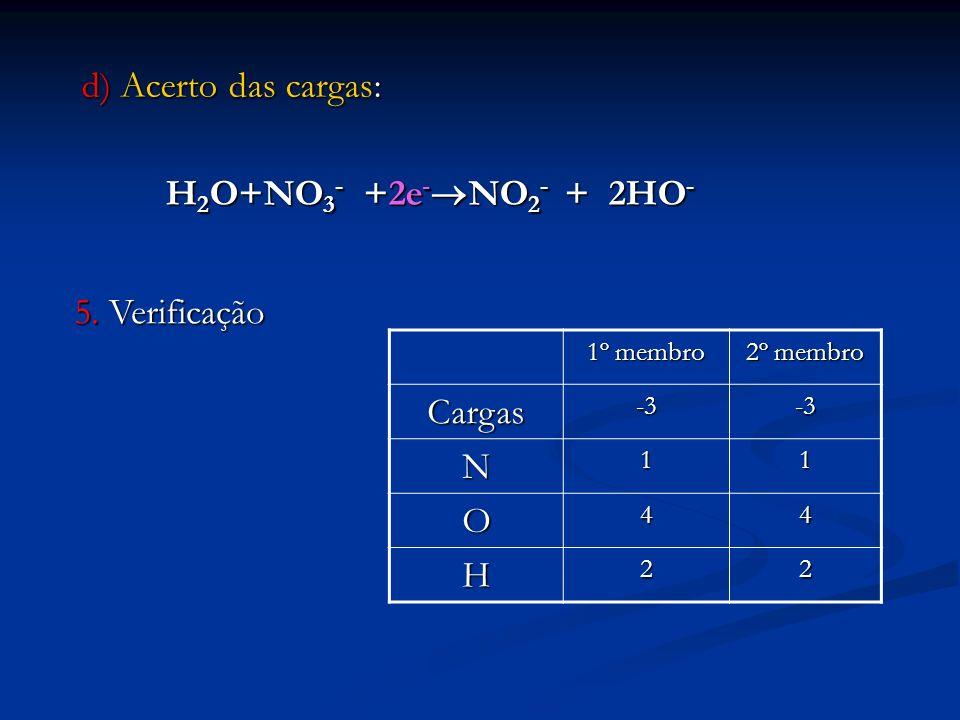 d) Acerto das cargas: H 2 O+NO 3 - +2e - NO 2 - + 2HO - H 2 O+NO 3 - +2e - NO 2 - + 2HO - 5. Verificação 1º membro 2º membro Cargas-3-3 N11 O44 H22