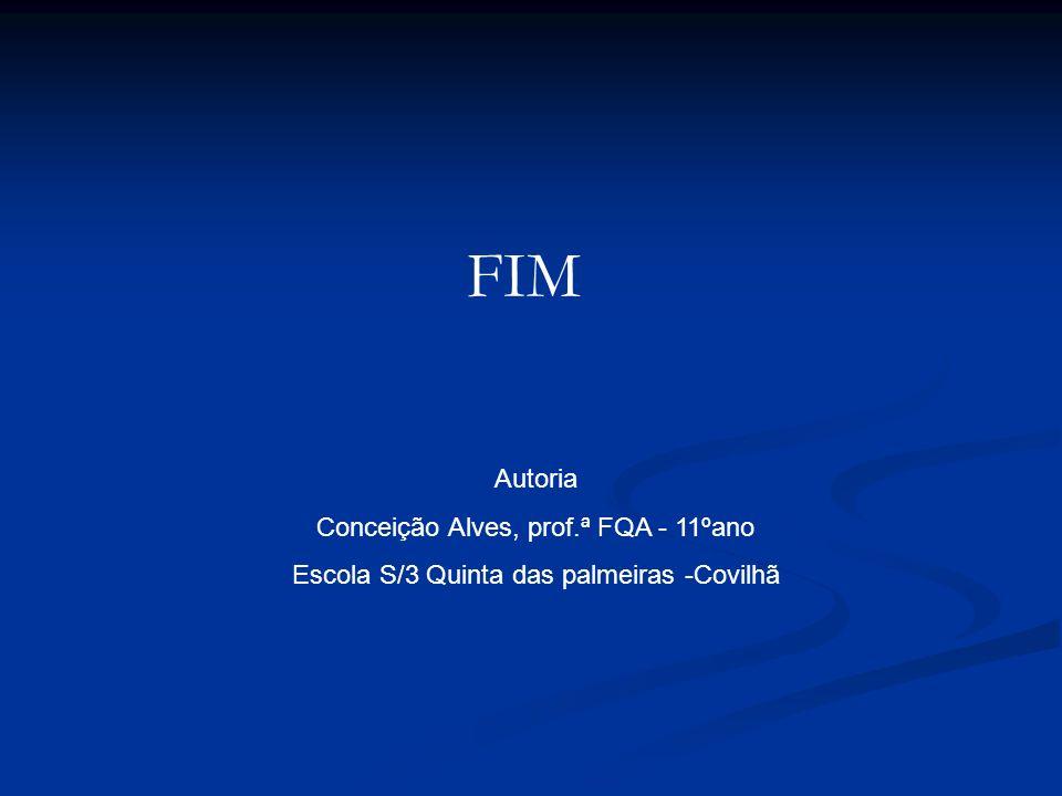 Autoria Conceição Alves, prof.ª FQA - 11ºano Escola S/3 Quinta das palmeiras -Covilhã FIM